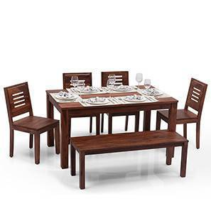 kitchen table with bench and chairs designs for small spaces dining sets buy tables online in india urban ladder arabia capra 6 seater set teak finish