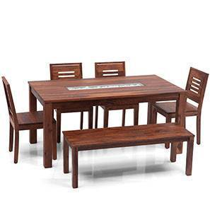 wooden kitchen table island hood dining sets buy tables online in india urban ladder brighton large capra 6 seater set with bench teak finish
