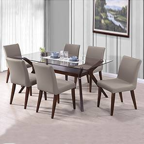 dark kitchen table kohler pull out faucet dining sets buy tables online in india urban ladder wesley persica leatherette 6 seater glass top set beige