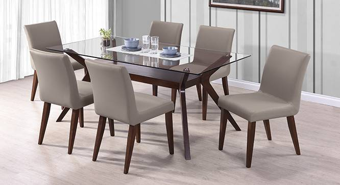 glass top kitchen table high quality cabinets wesley persica leatherette 6 seater dining set
