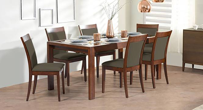 Vanalen 6 To 8 Extendable Dalla 6 Seater Glass Top Dining Table Set Urban Ladder