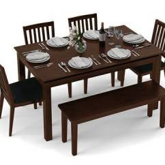Kitchen Table Set With Bench Pot Racks Diner 6 Seater Dining Urban Ladder Dark Walnut Finish By