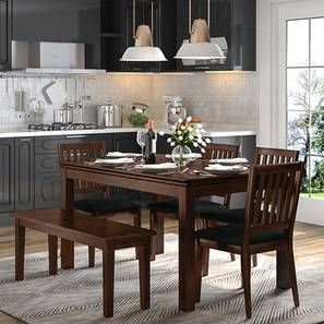 dark kitchen table imperial equipment dining sets buy tables online in india urban ladder diner 6 seater set with bench walnut finish by