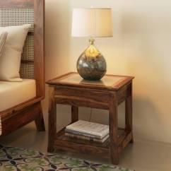 Wood Side Tables Living Room Grey Turquoise Table End Shop Furniture Online Fujiwara Bedside Teak Finish By Urban Ladder