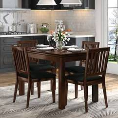 Dark Kitchen Table Parts Of A Faucet Dining Sets Buy Tables Online In India Urban Ladder Diner 4 Seater Set With Upholstered Chairs Walnut Finish