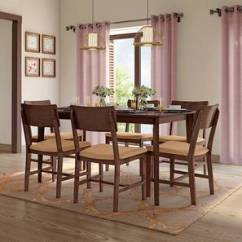 Dark Kitchen Table Renovation Costs Nj Dining Sets Buy Tables Online In India Urban Ladder Dexter 6 Seater Set Brown Walnut Finish By