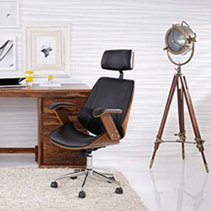 office chair online ebay eames chairs check price of ergonomic executive ray study walnut finish black by urban ladder