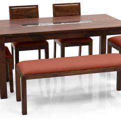 Bench For Kitchen Table Sink With Cabinet Brighton Large Oribi 6 Seater Dining Set Upholstered Urban Ladder