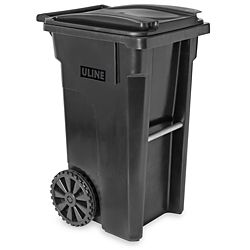 Uline Trash Can with Wheels 35 Gallon Black H4202BL