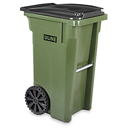 Uline Trash Can with Wheels 35 Gallon Green H4202G