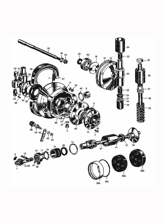 Rear swing arm and transmission: R51/2, R51/3-R68