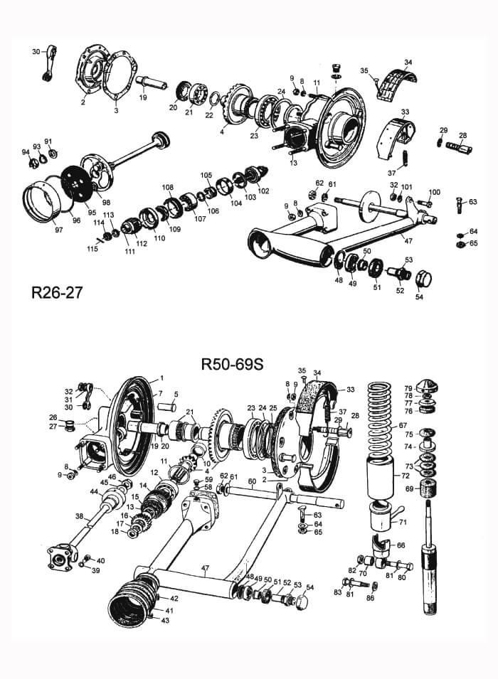 Kardan und Hinterradantrieb: R26, R27, R50-R69S