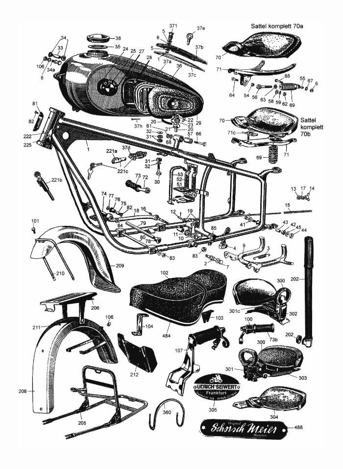 Frame, fender, tank, seat, ect.: R25-R25/3, R51/2, R51/3-R68