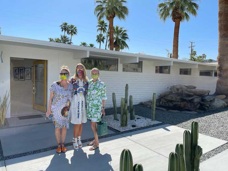 The Ulloo42 team, Suzanne Currie, Lise Abraham and Sandra Lane outside Sunburst Palmsin Deepwell during Palm Springs Modernism