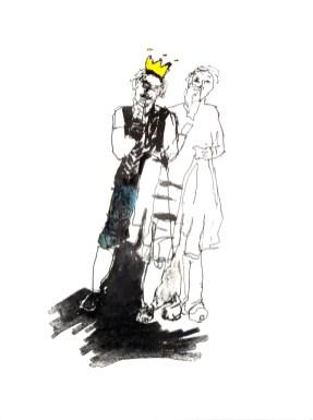 Der König? | 2015 | Lithografie coloriert auf Büttenpapier | 50 x 39 cm