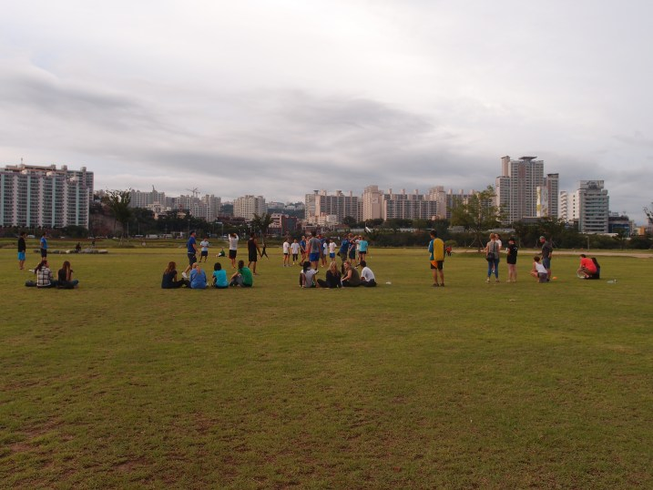 Watching the Ultimate Frisbee match