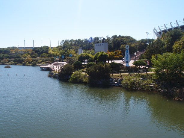 A view of the outdoor concert venue from the Boat House roof