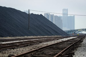 Petcoke piles along the Detroit river.