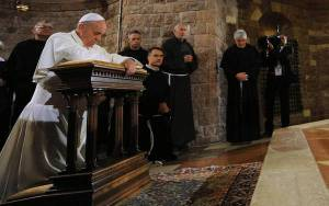Pope Francis during his visit to Assisi