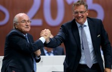 ZURICH, SWITZERLAND - MAY 29:  FIFA Secretary General Jerome Valcke (R) shakes hands with FIFA President Joseph S. Blatter during the 65th FIFA Congress at the Hallenstadion on May 29, 2015 in Zurich, Switzerland.  (Photo by Alexander Hassenstein - FIFA/FIFA via Getty Images)