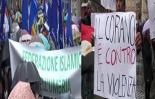 Isis? Nonostante pioggia battente gli islamici in piazza per dire NO