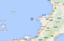 Terremoto sulla costa della Calabria di fronte a Capo Vaticano