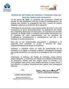 Venezuela y Colombia activan comunicación para combatir covid-19