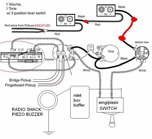 Emg Wiring Diagram 81 85 1 Volume 1 Tone : 40 Wiring