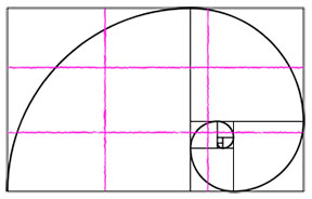 Fibonacci spiral and rule of thirds