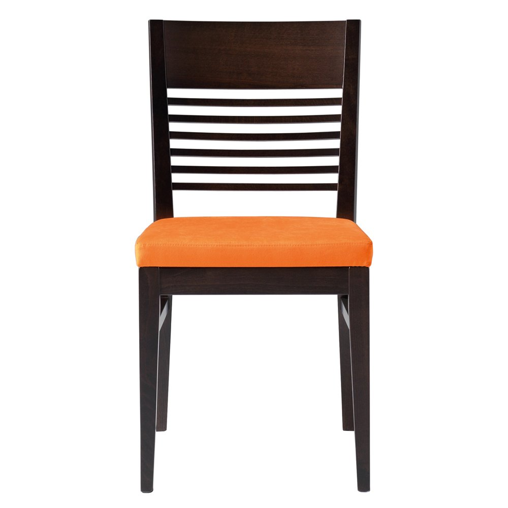 orange upholstered chair folding cloth chairs lina and dark wood side from ultimate