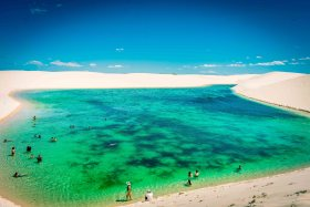 beautiful clear lake Lencois Maranhenses