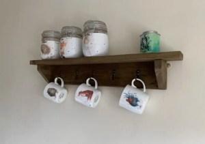 Rustic wooden shelf/coat hook, kitchen mug rack | HandMadeByJoe Image