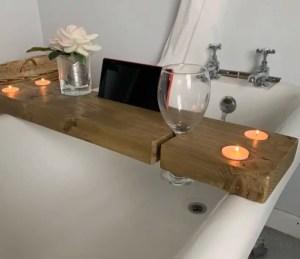 Wooden rustic caddy tray bath board shelf wine tablet or mobile phone holder | HandMadeByJoe Image