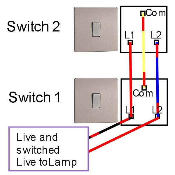 intermediate switch wiring diagram uk ceiling fan installation two way light switching schematic fitting one switches