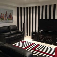 Living Room Decor With Brown Leather Couches Large Art Top 15 Rooms Striped Walls | Ultimate Home Ideas