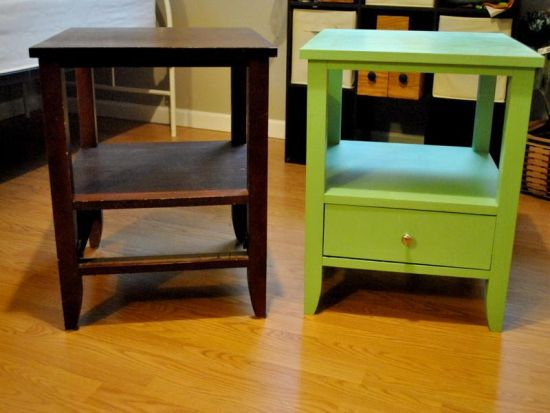 Creative green wooden table as DIY nightstand - NO.1# THE MOST BEAUTIFUL DIY BEDROOM NIGHTSTAND IDEAS