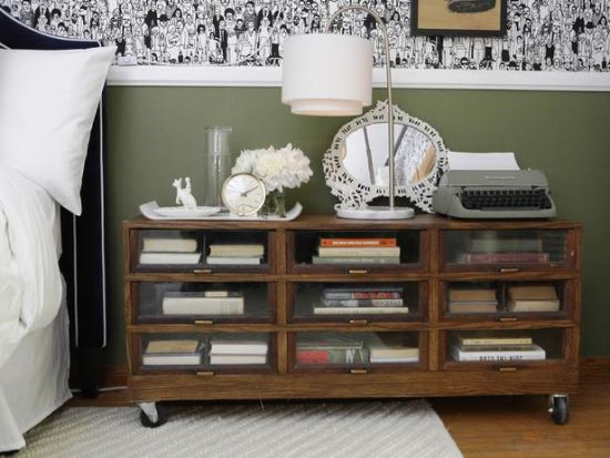 DIY antique cabinet as nightstand - NO.1# THE MOST BEAUTIFUL DIY BEDROOM NIGHTSTAND IDEAS
