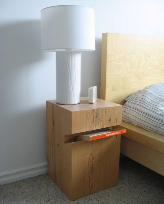 DIY wooden block as bedroom nightstand - NO.1# THE MOST BEAUTIFUL DIY BEDROOM NIGHTSTAND IDEAS