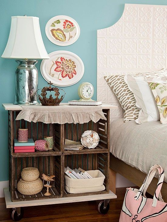 DIY wooden crates nightstand - NO.1# THE MOST BEAUTIFUL DIY BEDROOM NIGHTSTAND IDEAS