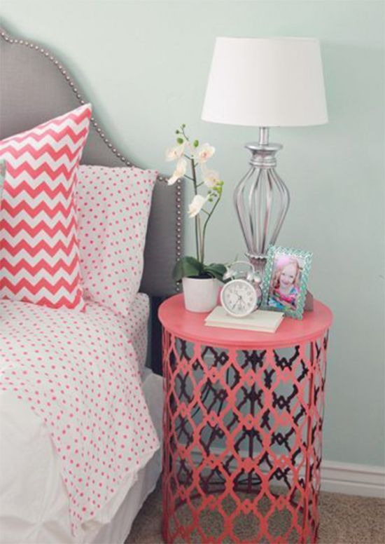 Painted trash can nightstand idea - NO.1# THE MOST BEAUTIFUL DIY BEDROOM NIGHTSTAND IDEAS