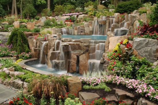 waterfall design backyard