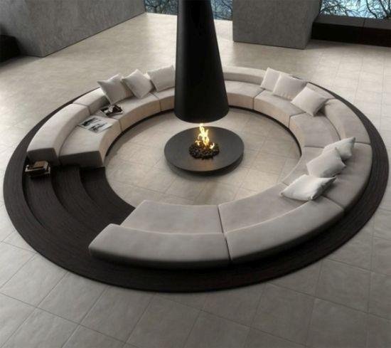Black and white themed sunken living room design - NO.1# BEAUTIFUL SUNKEN LIVING ROOM DESIGN IDEAS