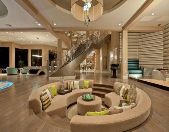 Curved sunken living room design - NO.1# BEAUTIFUL SUNKEN LIVING ROOM DESIGN IDEAS
