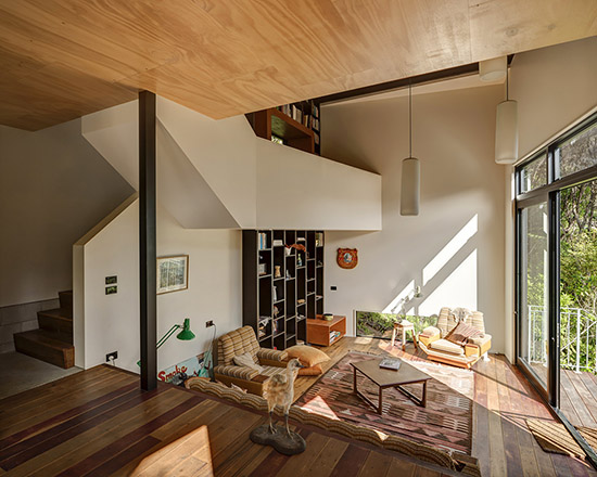 Modern mid century styled sunken living room design with floor to wall wooden cabinet - NO.1# BEAUTIFUL SUNKEN LIVING ROOM DESIGN IDEAS