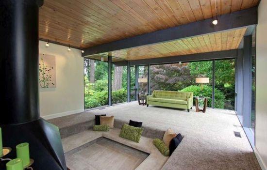 Modern sunken living room design with big glass windows and green accents - NO.1# BEAUTIFUL SUNKEN LIVING ROOM DESIGN IDEAS