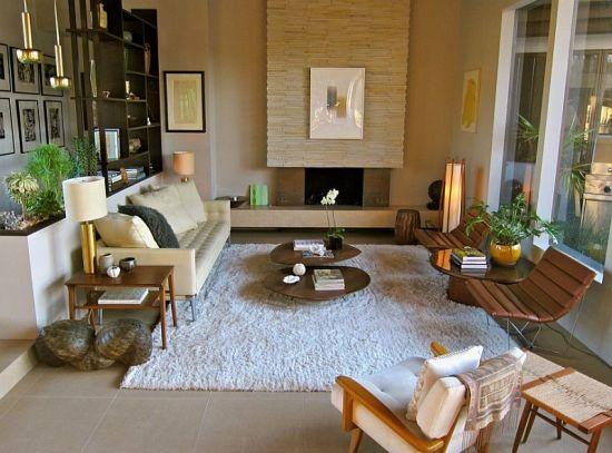 Modern white and brown sunken living room design - NO.1# BEAUTIFUL SUNKEN LIVING ROOM DESIGN IDEAS