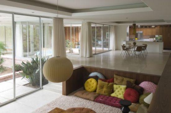 Simple sunken corner living room design with floor seating - NO.1# BEAUTIFUL SUNKEN LIVING ROOM DESIGN IDEAS