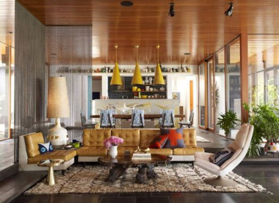 Stylish sunken living room design with area rug and tufted sofa - NO.1# BEAUTIFUL SUNKEN LIVING ROOM DESIGN IDEAS