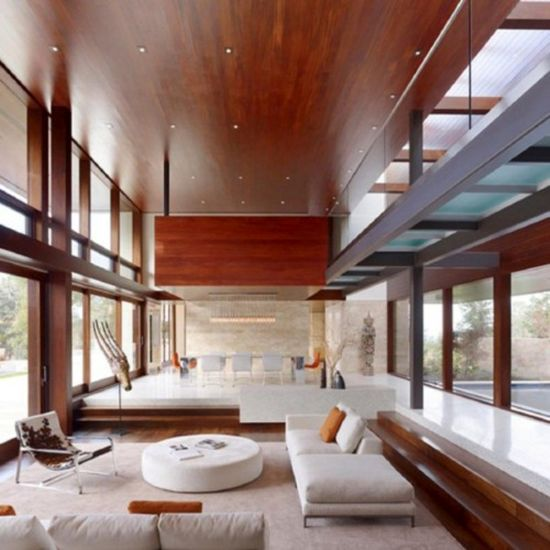 Sunken living room design with contemporary furniture and varnished wood ceiling plus floor - NO.1# BEAUTIFUL SUNKEN LIVING ROOM DESIGN IDEAS