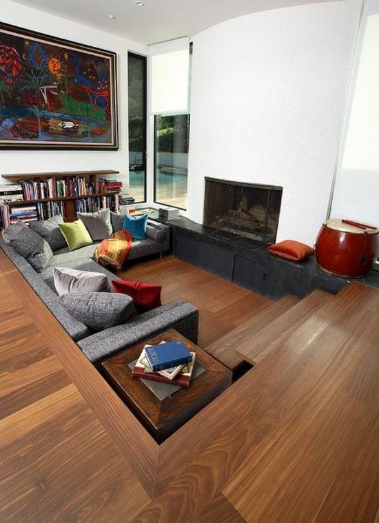Warm sunken living room design with wooden flooring - NO.1# BEAUTIFUL SUNKEN LIVING ROOM DESIGN IDEAS
